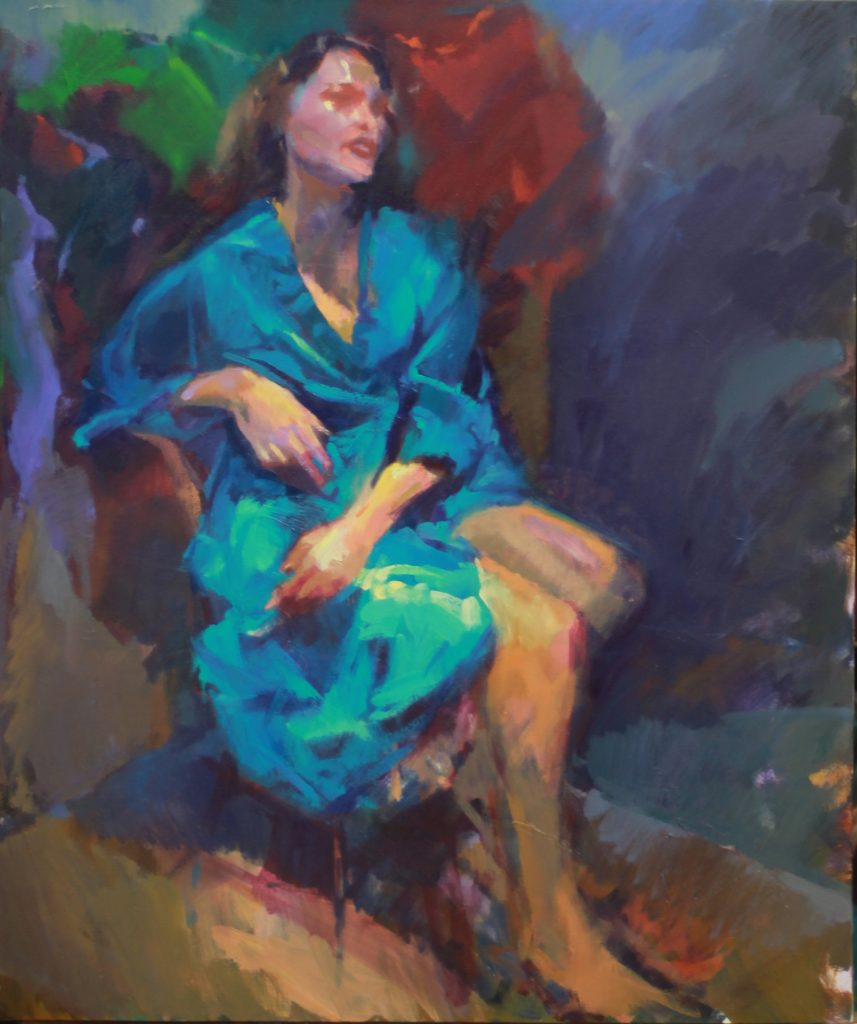 The Blue Kimono - Mimi, by Henryk Ptasiewicz 30x24 oil on canvas