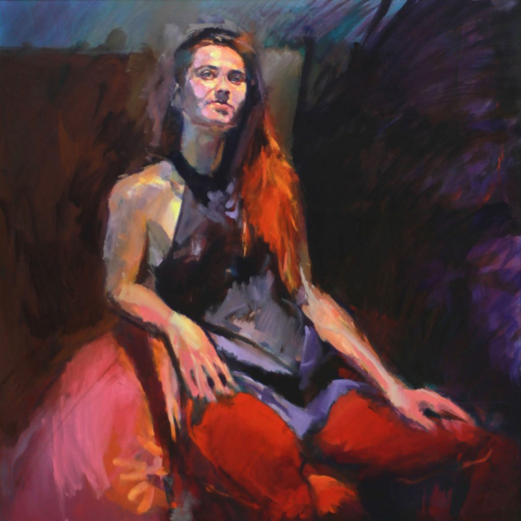 Girl from Russia by Henryk Ptasiewicz 36x36 oil on canvas-web