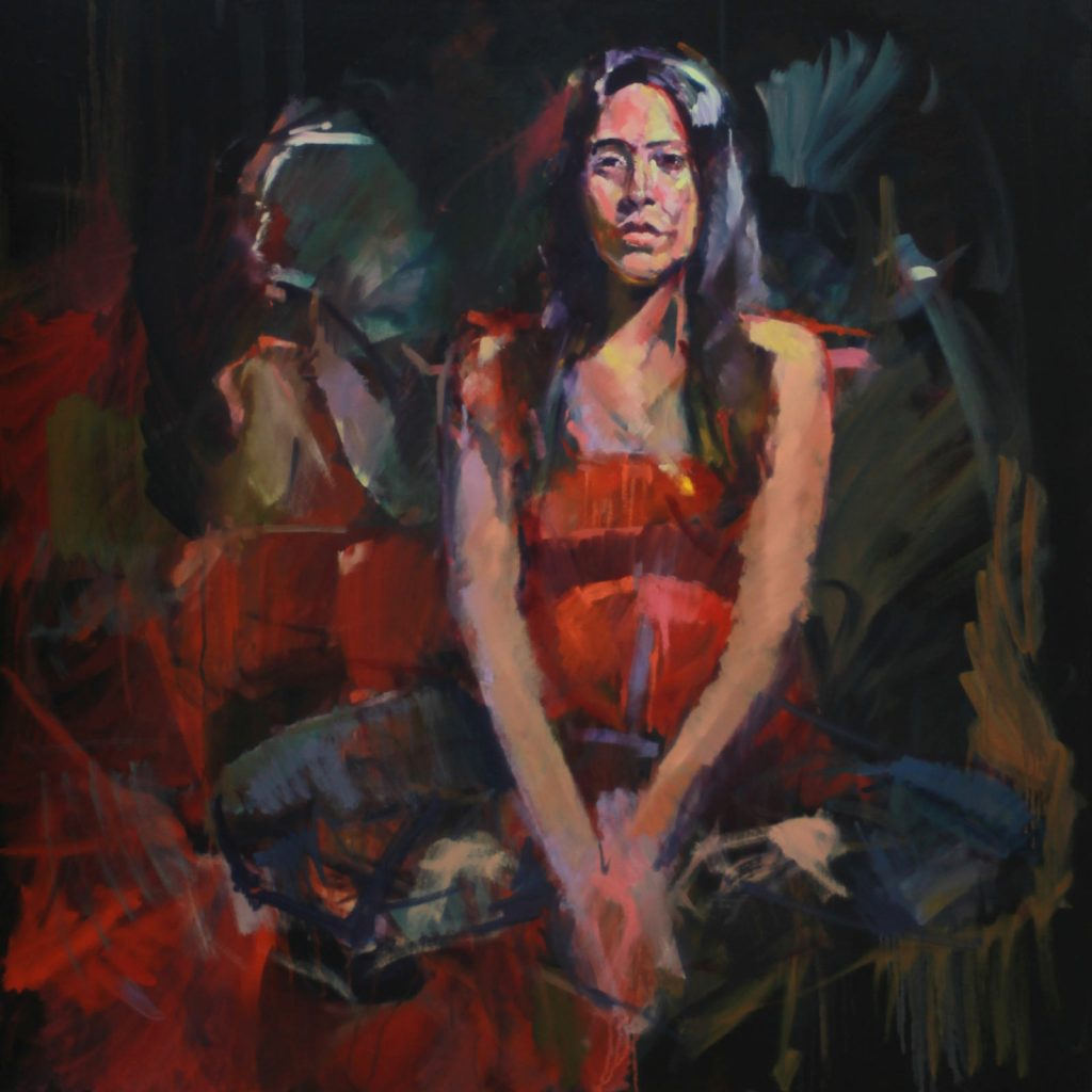 Double Portrait by Henryk Ptasiewicz 36x36 oil on canvas