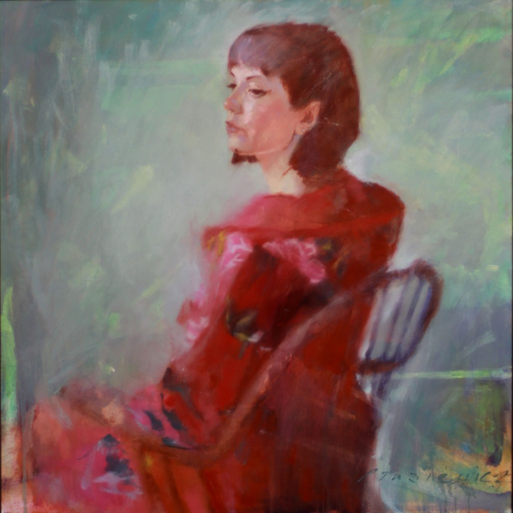 Dancer by Henryk Ptasiewicz 30x30 oil on canvas
