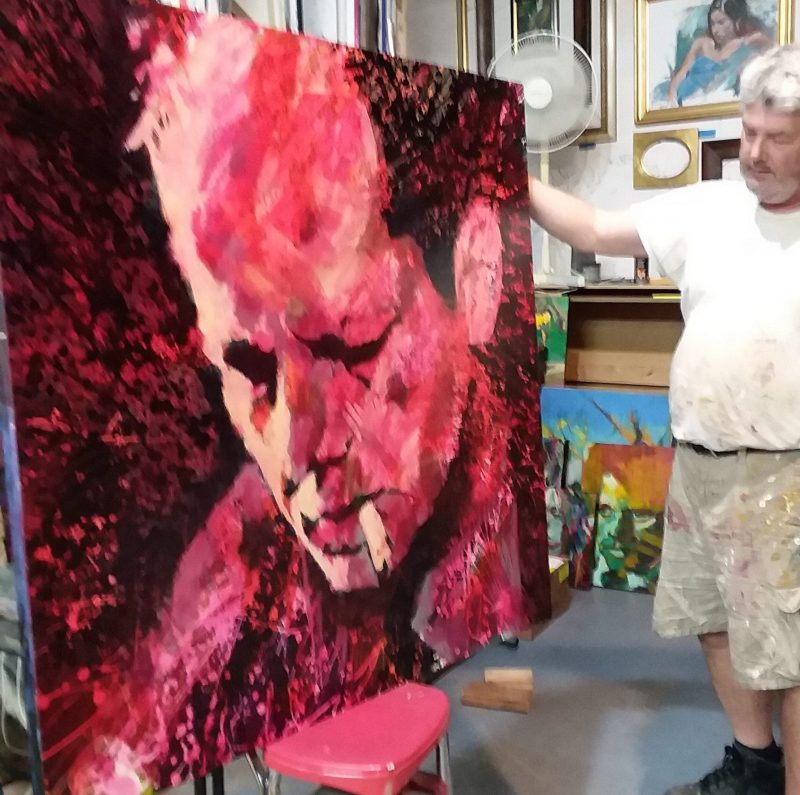 Henryk Ptasiewicz with his nearly finished portrait of Jackson Pollock