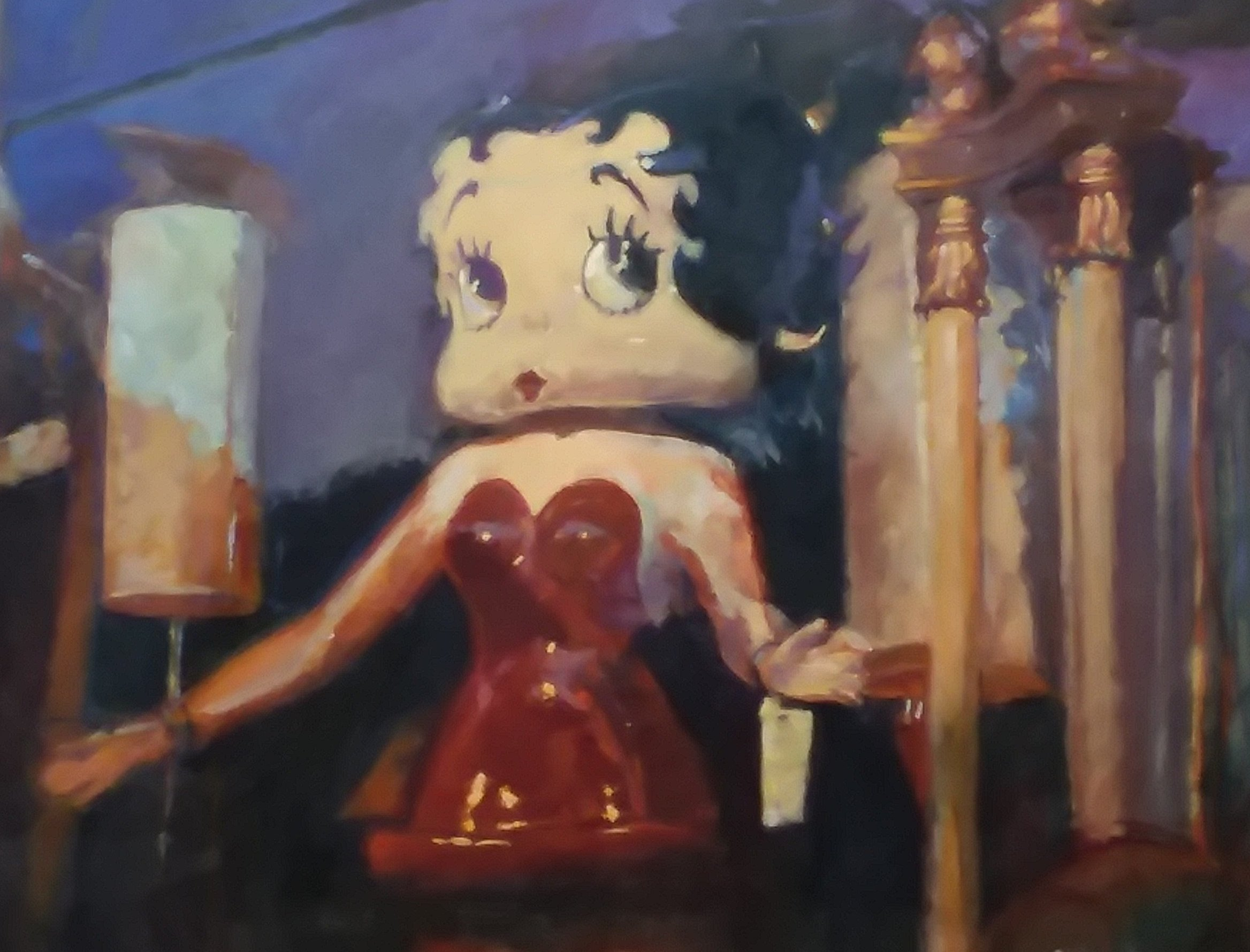 Betty Boop in the Window by Henryk Ptasiewicz 30x40 oil on canvas