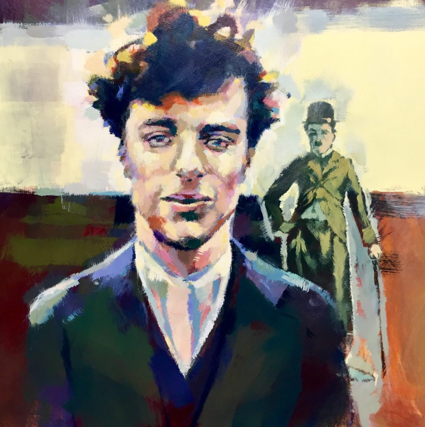Young Charlie Chaplin by Henryk Ptasiewicz 24x24 acrylic on cradled panel