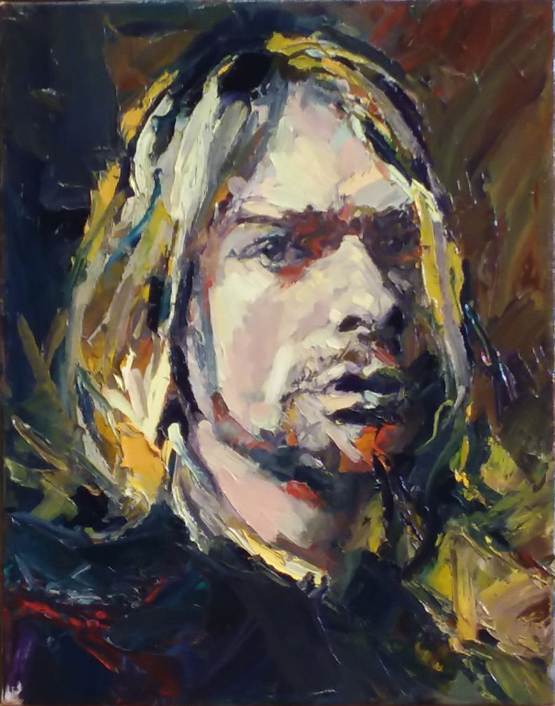 Kurt Cobain by Henryk Ptasiewicz Oil on Canvas 14x11