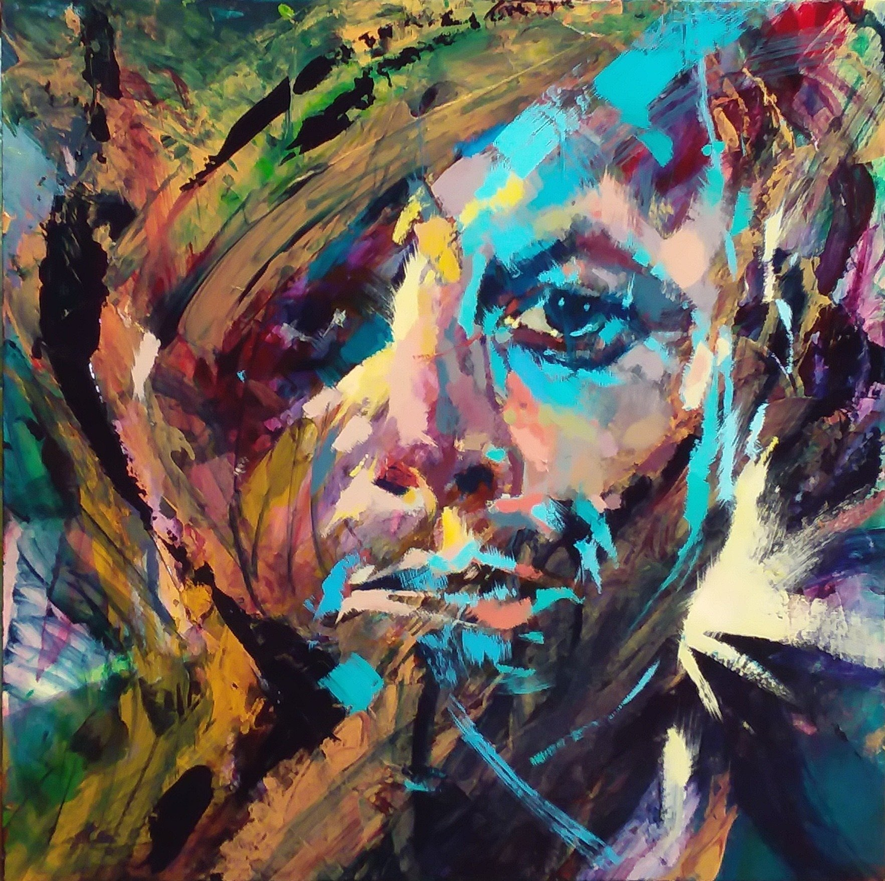 JFK by Henryk Ptasiewicz Acrylic on cradled panel 24x24